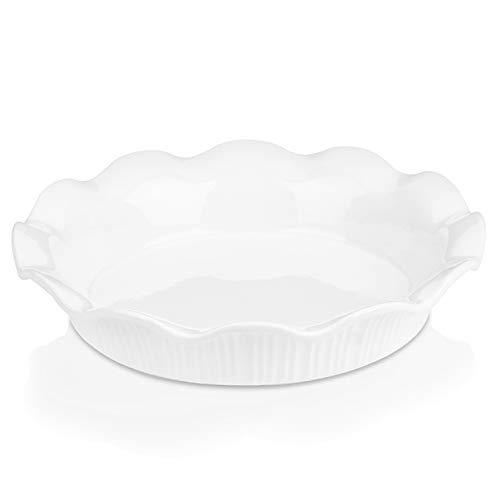 LOVECASA Quicheform Porzellan, 1er Set Tarteform Aufbackform Kuchen Obstkuchenform mit gewelltem Rand, rund, Ø 25,3 cm