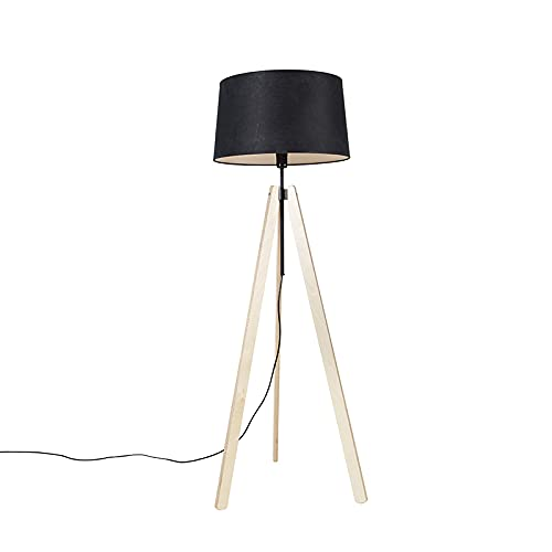 QAZQA Moderno Vloerlamp tripod beige met linnen kap zwart 45 cm - Telu Madera/Lino/Textil Alargada Adecuado para LED Max. 1 x 40 Watt