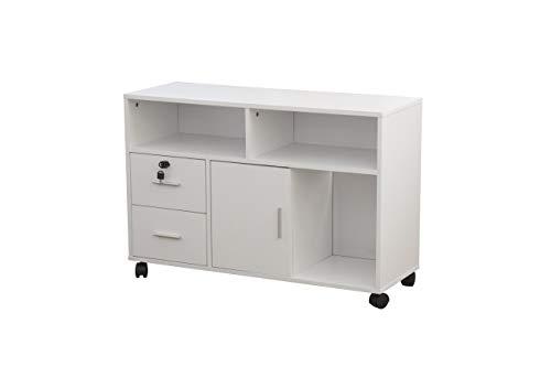 HappyHome Kommode mit Schublade & Rollen Büroschrank Aktenschrank Büromöbel Weiß / B97 x T34 x H65 cm