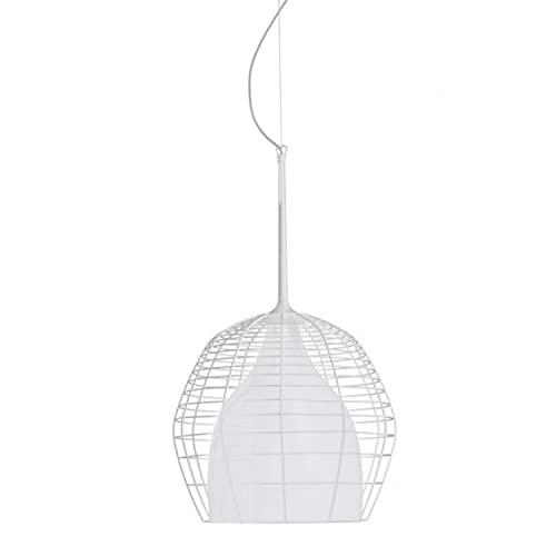 Lámpara Colgante, Casquillo E27, 20W, de Cristal soplado y Metal Lacado Mate, Modelo Cristal Cage Grande, 46 x 46 x 76 centímetros, Color Blanco (Referencia: LI02VG 10 E)