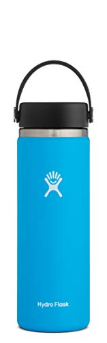 Hydro Flask ウォーターボトル ステンレススチール&真空断熱 広口2.0 漏れ防止フレックスキャップ 複数のサイズと色 20 oz (592 ml) Wide Mouth ブルー W20BTS415