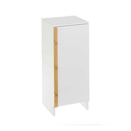 Armario de baño bajo con 1 Puerta Blanco nórdico de bambú y MDF de 74x28x32 cm - LOLAhome