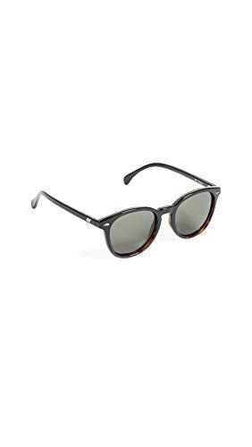 Le Specs Bandwagon Black Tort Khaki Mono - Sonnebrille Herren und Frauen - Gestell Schwarz Braun Verlauf Glas Grün - Retro From Rund - 1802194