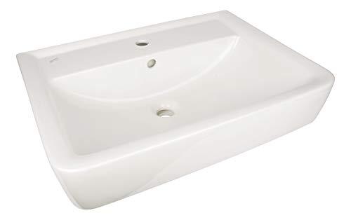 Geberit (Keramag) Waschtisch Renova Plan, 222265, eckiges Waschbecken 65 cm, Waschplatz mit Ablagefläche, Weiß, 03850 8