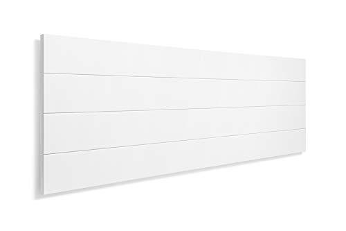 SUENOSZZZ-ESPECIALISTAS DEL DESCANSO Cabecero de Cama de Madera TREVINCA Color Blanco para Pared. Cabecero de Tablas Horizontales. Estilo Vintage, para Camas de 90 y 105