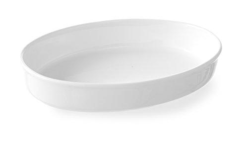 HENDI Ofenform, Oval, Hohe Schlag- und Verschleißfestigkeit, Ofen- und Snackline, 324x225x56mm, Weiß Porzellan