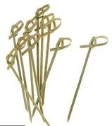 Bamboo Cocktail Knot Picks: 300 Pack, 4.7 inch, All Natural, Eco-Friendly, Looped Knot, Perfect for Barbecue, Cocktail Party Snacks, Club Sandwiches, Finger Foods, etc.