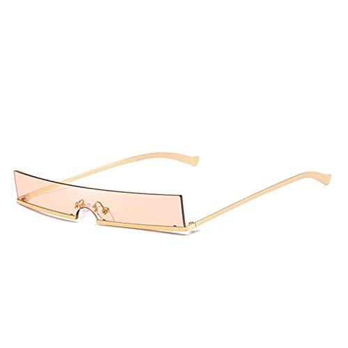 FDNFG Mujeres Moda Gafas de Sol Designer de Lujo Clear Rectangle Lente Personalidad Gafas de Sol Trasas Mujer Eyewear UV400 Gafas de Sol (Lenses Color : Golden and Champagne)