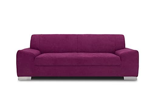 DOMO Collection Alisson Sofa, 3er Couch, 3-Sitzer, 3er Garnitur, 199x83x75 cm, Polstergarnitur in lila