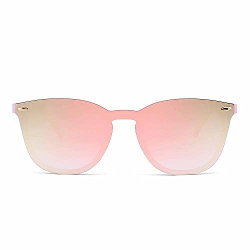 JIM HALO Randlos Sonnenbrille Ein Stück Spiegel Reflektierend Brille für Damen Herren(Rosa/Spiegel Rosa)