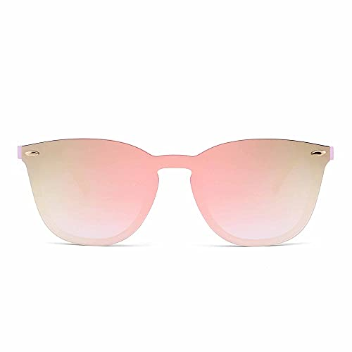 JIM HALO Occhiali da Sole Senza Montatura Un Pezzo Specchio Riflettenti Uomo Donna (Rosa/Specchio rosa)