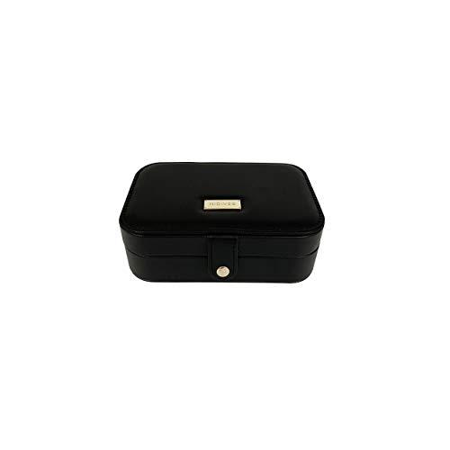 NIDIVES: Joyero para mujer   Pequeño joyero de viaje nuevo diseño microfibra alta calidad   Organizador joyas pendientes, collares, relojes, anillos y accesorios Negro