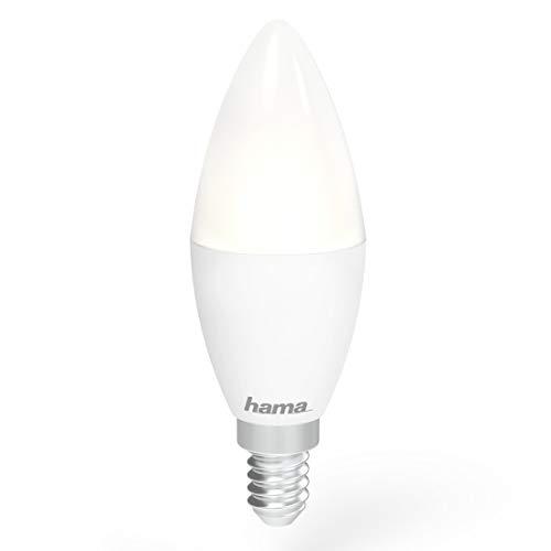 Hama - Bombilla inteligente LED WiFi E14, color blanco con intensidad regulable. Control por voz compatible con Alexa y Google Home
