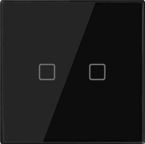 Interruptor wifi Smart Wifi Wall Touch Light Switch, no se requiere neutral - 2 Gang Black - Control de aplicaciones de vida inteligente inalámbrico, cable único en vivo, compatible con Alexa Google H