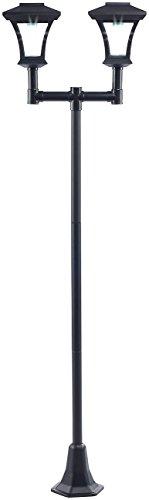 Royal Gardineer Gartenbeleuchtung: 2-flammige Solar-LED-Gartenlaterne, SWL-25, 0,36 W, 24 lm, 185 cm hoch (Solarstandleuchte)