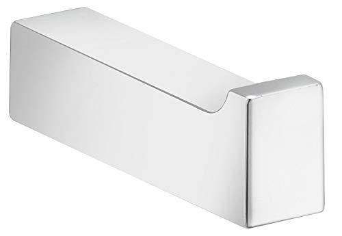 KEUCO Bademantelhaken aus Metall, hochglanz-verchromt, eckig, für Badezimmer oder Sauna, Wandhaken für Bademäntel und Handtücher, Edition 11