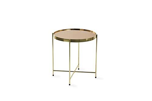 LIFA LIVING Tavolino da salotto moderno, tavolinetto color oro in metallo stile shabby, tavolino decorativo da caffè per cucina e soggiorno, 42x45cm