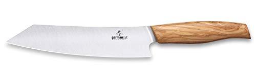 GERMANCUT Meatlover Kochmesser | Made in Solingen | 20 cm Klinge | Messer aus Sandvikstahl 12C27 | Griff aus Olivenholz | Fleischmesser extrem scharf | Küchenmesser