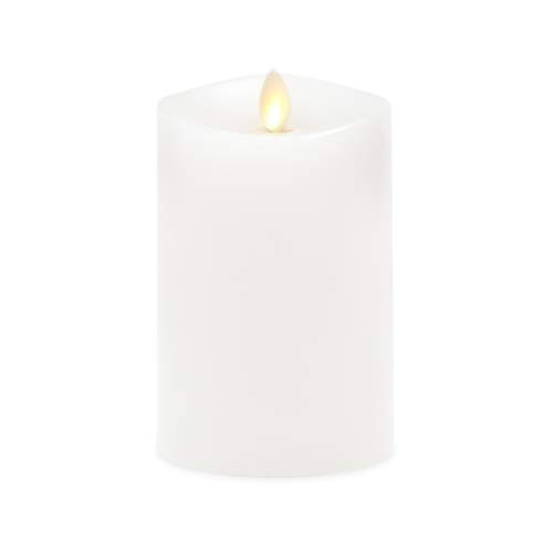 Luminara Flameless Pillar Candle Medium (5.5 inches Tall), Flickering Real Flame Effect, Melted Edge, Real Wax, Smooth Finish, Unscented, White, LED Battery Powered