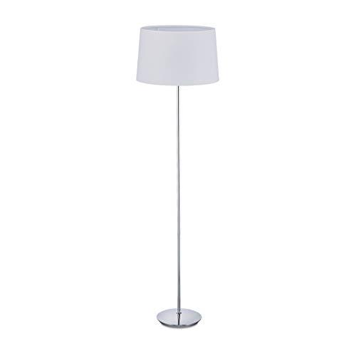 Relaxdays Stehlampe mit Stoffschirm, verchromter Fuß, E27 Fassung, Ø 40 cm, Wohnzimmer, Stehleuchte 148,5 cm hoch, weiß
