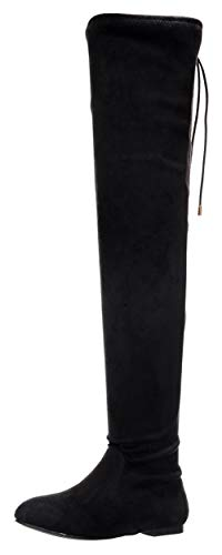Nature Breeze Vickie-41TH Women's Stretchy Thigh High Flat Heel Boot,Su Black,6.5