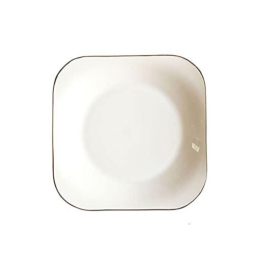 YSYSPUJ Plato de Cena 8 Pulgadas Forma de Flores Borde Dorado Placa de cerámica Nórdico Floral Blanco Porcelana Cena de Cena Sopa Ensalada Cuenco Postre vajilla
