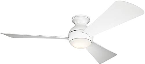 "Kichler 330152MWH Sola 54"" Outdoor Hugger Ceiling Fan with LED Light and Wall Control, Matte White"