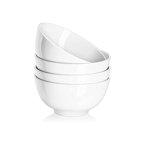 AOSNTEK Tazón de porcelana blanca pura, resistente, fácil de limpiar, gabinete de desinfección de lavavajillas de horno microondas de 4.5 pulgadas, paquete de 4