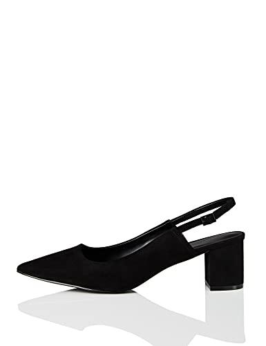 find. Point Block Heel Slingback Scarpe con Cinturino alla Caviglia, Nero Black), 39 EU