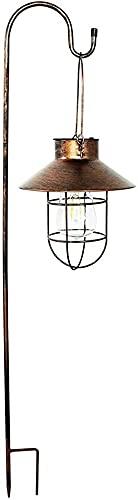 JYDNBGLS Farol LED de metal con energía solar para exteriores, linterna colgante de ahorro de energía al aire libre jardín luces de árbol para terrazas césped, porches, patio, valla de árbol
