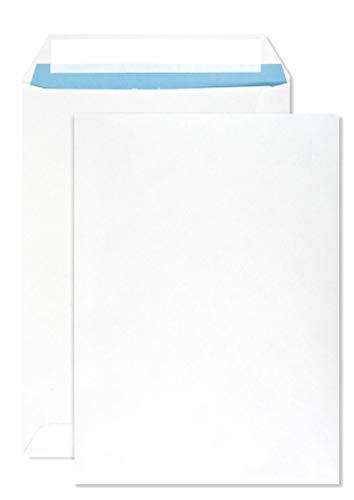 500 weiße DIN C5 Versandtaschen 162x229 mm gerade Klappe Haftklebung ohne Fenster 90g Briefumschläge C5 weiß Briefkuverts C5 weiße Geschäfts-Umschläge