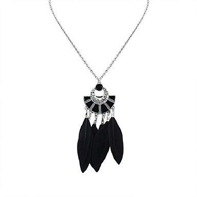 ZHANGZZ-Collares primavera cadenas colgantes collar largo collar de cadena Tansanit espesor Damas étnico moda de primavera nativo americano Aleación verde oscuro Negro del arco iris 70 cm joyería de m