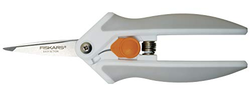 Fiskars Tijeras multiuso Softgrip, con Micro-Tip, Longitud 16 cm, Hoja de acero inoxidable/Mangos de plástico, Blanco/Gris, Easy Action, 1003874