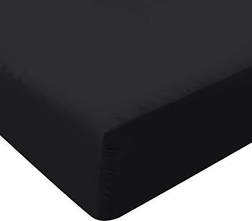 Utopia Bedding Sábana Bajera Ajustable - Bolsillo Profundo - Microfibra Cepillada - (150 x 200 cm, Negro)