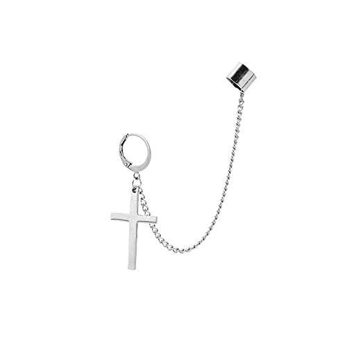 Cadena de borla de cruz con clip ancho en pequeño aro para hombres, mujeres, niñas, cartílago, moda personalizada, punk escalador, hip hop, rock, Kpop, regalo de cumpleaños