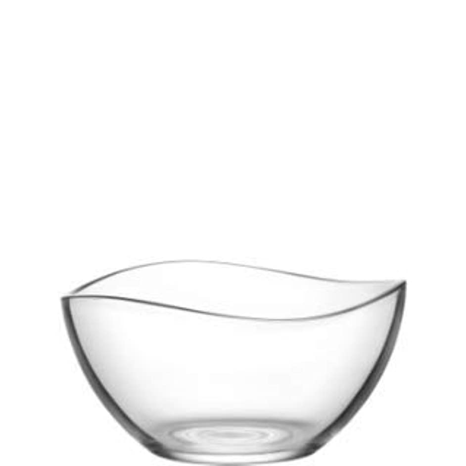 "Vira 63.5 Ounce Glass Serving Bowl | Beautiful Wavy Design, Thick, Durable Glass, For Salads, Desserts, Fruit, and More, Microwave and Dishwasher Safe, 8.2"" x 4.5"""