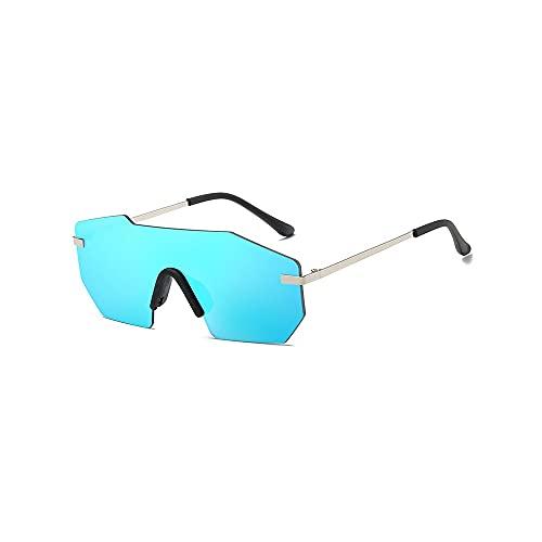 Heigmz tyj - Gafas de sol polarizadas para hombre, gafas de sol siamesas de una sola pieza para hombre, elegante lente cuadrada, lente de espejo de una pieza (color: azul)