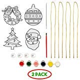 315 Products 4 Yesfancy Ornaments- Crafts for Kids, Girls, Boys Ages 4 & Up- Santa, Christmas Tree, Wreath & Ornament- Incl. Hanging Strings, Paint, Paint Brush, Paint Stick & Suction Cups (2 Pack)