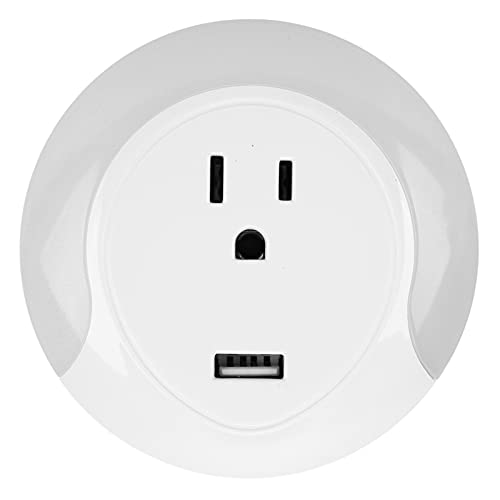Enchufe inteligente, enchufe WIFI con luz nocturna USB, adecuado para Alexa Echo y Google Home, no se requiere concentrador(EU)