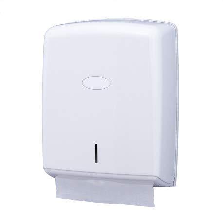Dispensador de limpieza de mano – Dispensador de hojas – Dispensador de toallas – Hojas plegadas – Blanco – Plástico ABS
