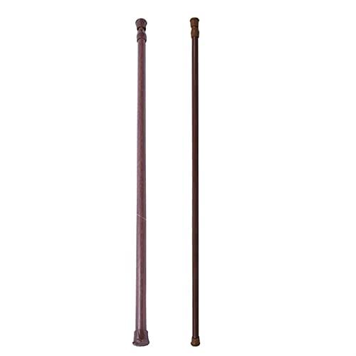 Barra de cortina de baño 2x extensionable Telescópico de resorte cargado de red Voile Tensión Cortina Rain Poste Barras, 55-90 cm / 70-120cm, color de madera La longitud se puede ajustar libremente.