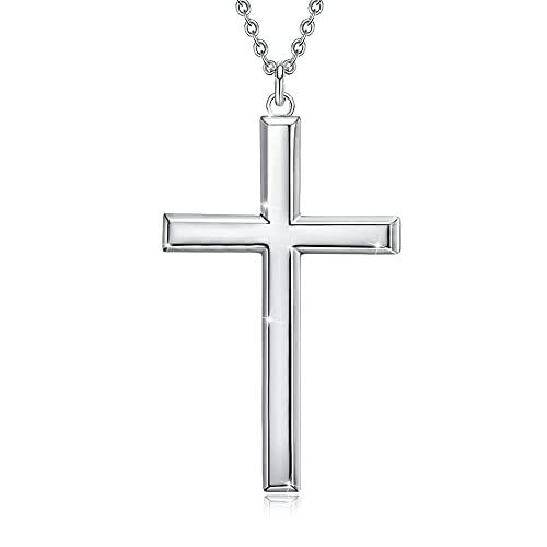 GOXO Herren Kreuz Anhänger Sterling Silber Klassische Kreuzkette Halsketten Schmuck Geschenke für Männer 24