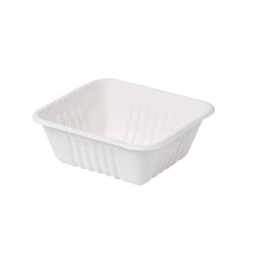 50 bandejas para patatas fritas – Contenedor para alimentos desechable – Bandeja robusta y resistente, biodegradable y compostable – 400 ml – 10 x 12,5 cm