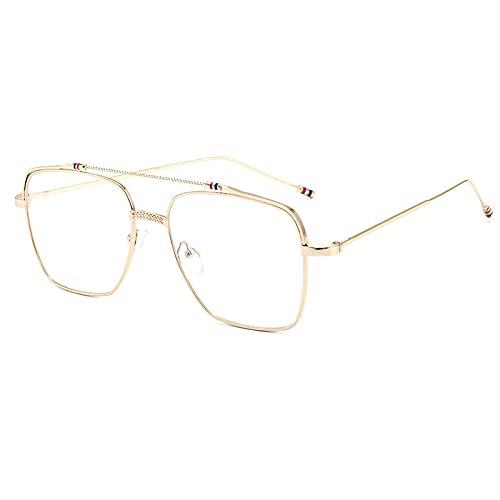 XINMAN Gafas De Sol con Montura De Alambre Dorado A La Moda, Espejo Plano con Montura Grande Cuadrada, Gafas De Sol con Luz Azul Y Personalidad De Moda