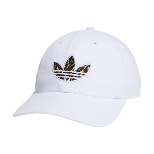 adidas Originals Men's Cheetah Trefoil Logo Relaxed Fit Cap, White, One Size