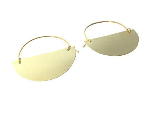 Golden Brass Omaha Mall Half Moon Earrings Hoop Max 57% OFF