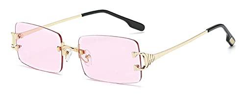 Gafas cuadradas sin Montura Hombre pequeño rectángulo sin Marco Gafas de Sol Enamorada Metal de Hombre Moda Unisex Oculos UV400 (Color : 3, Size : D)
