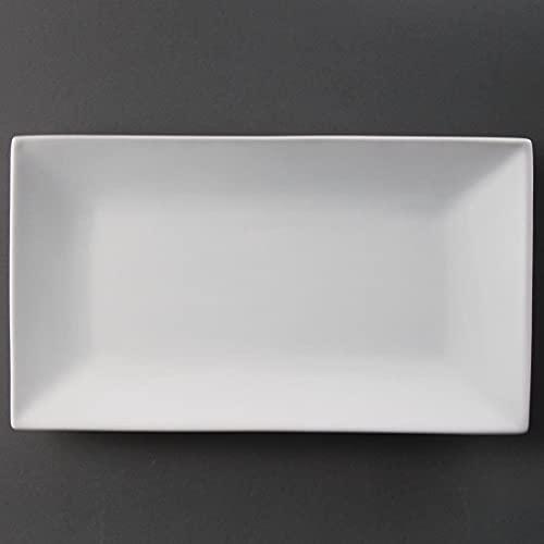 Olympia Whiteware Plats Rectangulaires de Service en Porcelaine Blanche 310x180mm - Super Vitrifié à Bords Roulés Renforcés - Paquet de 2
