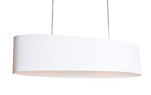 anTes interieur Hängeleuchte Tendara 2-flammig weiß mit 2 x 10 Watt LED-Leuchtmittel/80 cm lang/Metall verchromt/Stoffschirm (Pendelleuchte Hängelampe Deckenlampe Pendellampe Deckenleuchte)