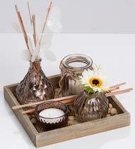 Ritzenhoff & Breker Holztablett Jara mit 3 Vasen, Teelichthalter und Deko-Kies